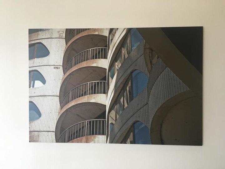 Large photos adorn the lobby walls