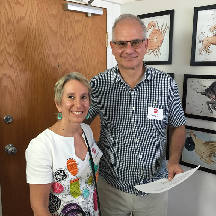 Chicago Bauhaus & Beyond founder Joan Gand with Geoff Goldberg, son of River City architect Bertrand Goldberg