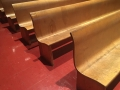The benches in the auditorium were designed by Eero Saarinen and Charles Eames.