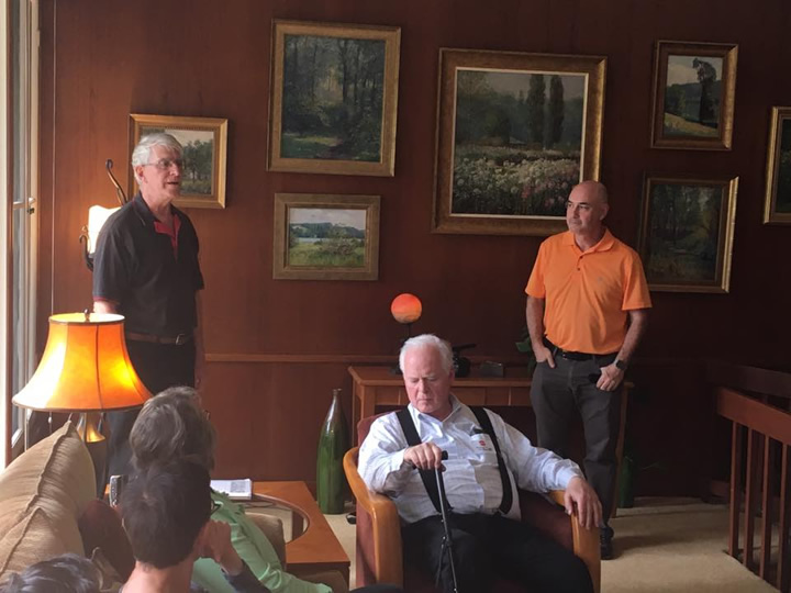 Informative talks by Jim Laukes of the Society of Architectural Historians and Nate Kipnis, architect, as well as the owner Michael Rapp (center). Jim helped us make contact to arrange the tour.