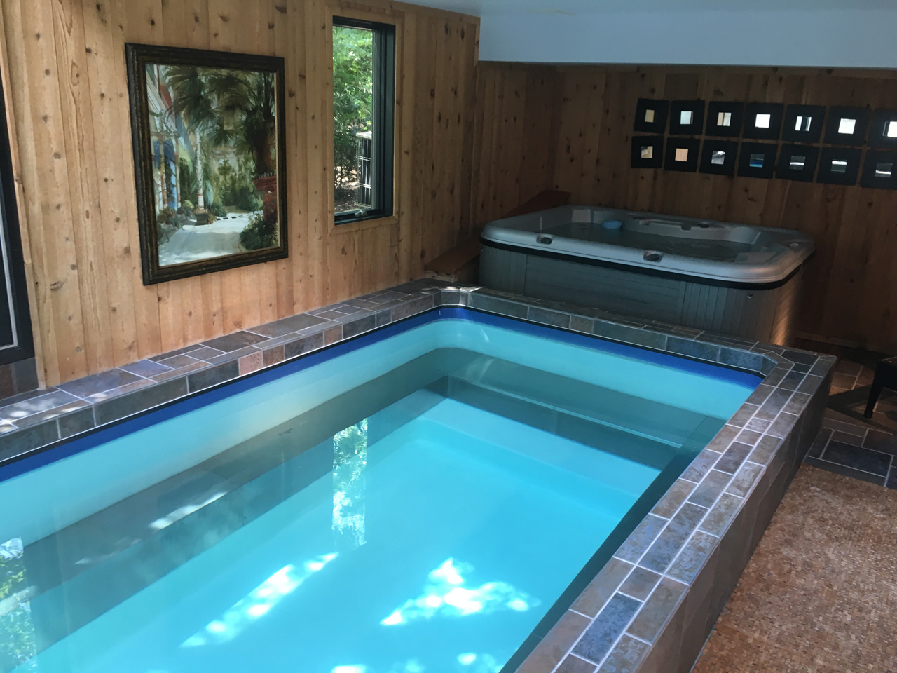 The endless pool in the pool & hot tub room